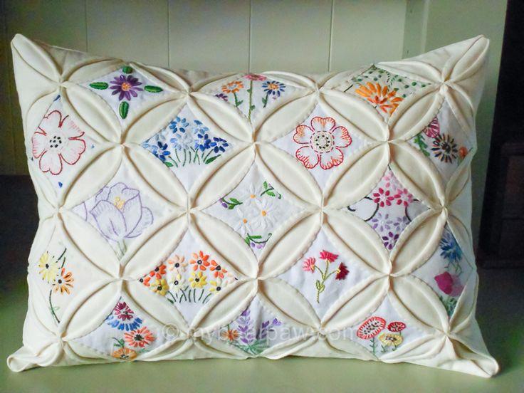 Cathedral window cushion, with embroidered stitchery by myBearpaw (Edinburgh). Fabrications magazine April/May 2013