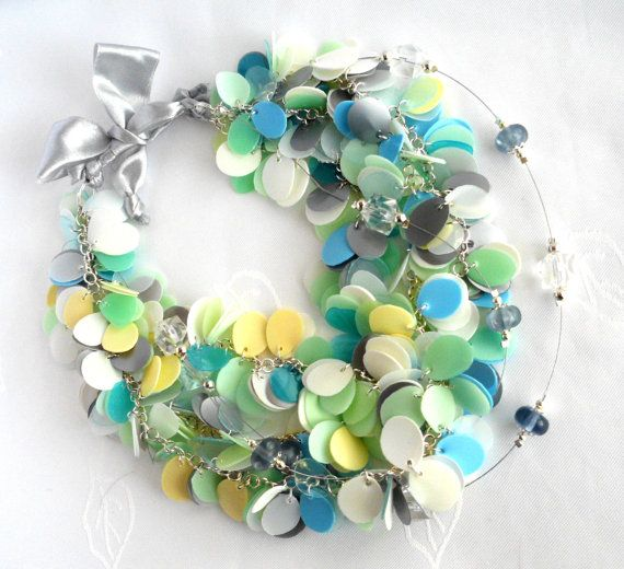 Statement #necklace in pastel colors made of #recycled plastic bottles