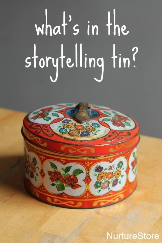 Story telling tin filled with items for children to make up their own stories