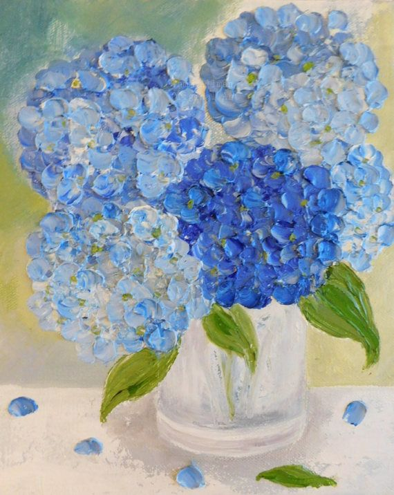 Blue Hydrangea Painting Impasto Painting  by KenziesCottage