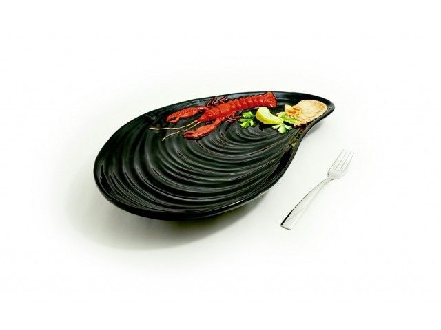 PÓŁMISEK CERAMICZNY MUSSEL 47 CM CZARNY #półmisek #zastawa #dish #fruttidimare #seafruit #owocemorza #shrimps #prawn #krewetki #cancer #black #sea  #onemarket.pl #italian #ceramics #ceramika #włoska #italiano #italianfood