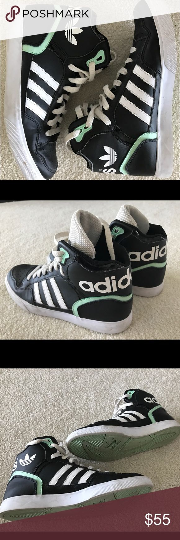 Adidas Tiffany Blue Trim High Tops Size 7.5 Black White and Tiffany Blue Adidas High Tops... Originally purchased at Nordstrom. Super comfortable and offer great support. Gently used.. message me with questions! Adidas Shoes Sneakers