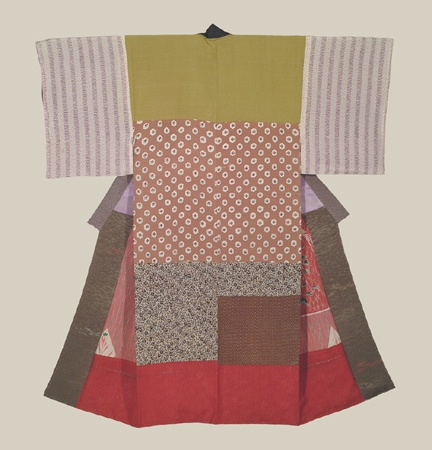 """Patchwork Juban, Meiji (1868-1911). A silk patchwork antique juban with wool lining.  51"""" from sleeve-end to sleeve-end x 57"""" height. The Kimono Gallery"""