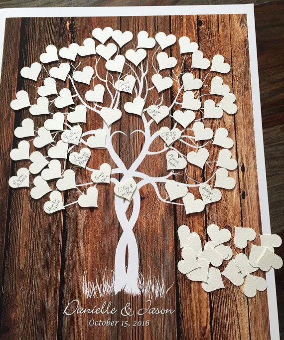 Hochzeit Baum Gästebuch Alternative mit Klebstoff Herzen aus unserer Classic Wedding Collection.  Unique & Original Alternative zu einem traditionellen Hochzeit Gästebuch, die ein ganz besonderes Hochzeitsgeschenk machen! Dieses Design kann auch für jede andere Gelegenheit oder das Ereignis (Baby Shower, Geburtstag, Jubiläum, Familienfeier & usw.) personalisiert werden  * Dieser Baum ist ein Nachbau original Inkjet, die auf dem Computer um die am besten angepassten Aussehen geändert wurde…