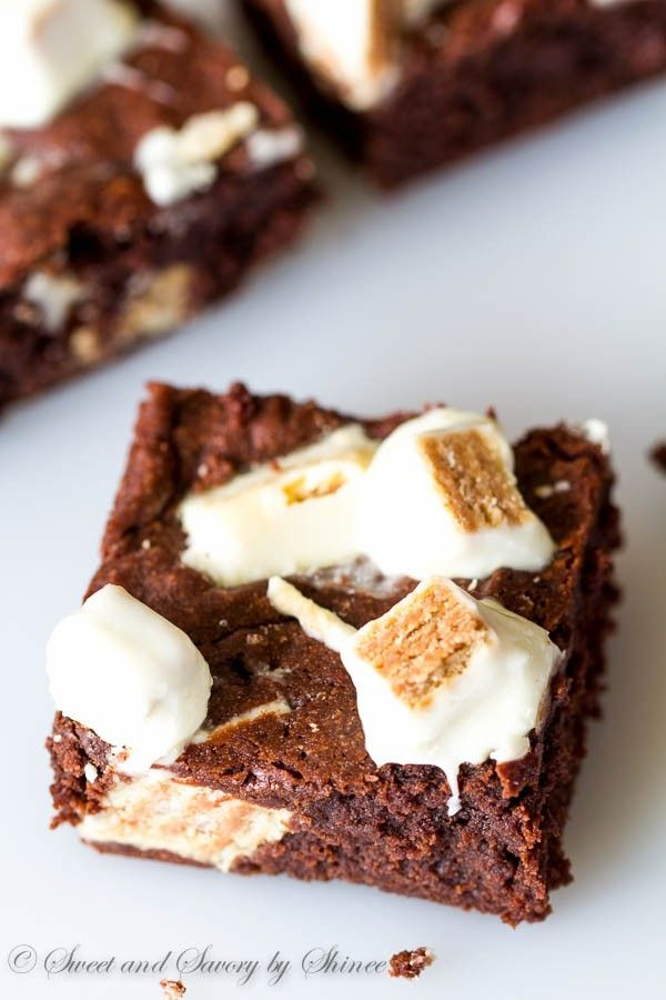 Extra fudgy, melt-in-your-mouth tender brownies dotted with white chocolate Kit-Kats are out of this world delicious. You might as well bake TWO!