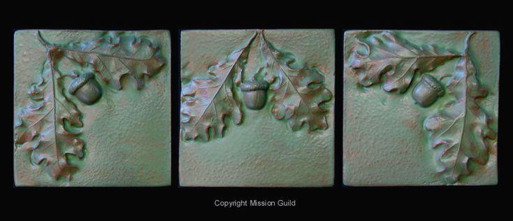 Arts & Crafts Acorns & Oak Leaves Tile Mural