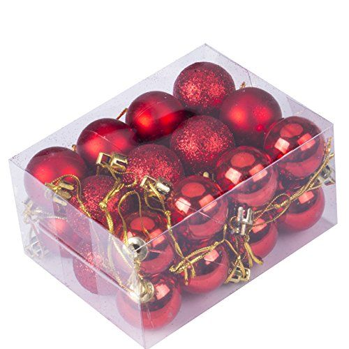 Christmas Balls Ornament Shatterproof Pendants For Holiday Xmas Garden  Decorations (Red.
