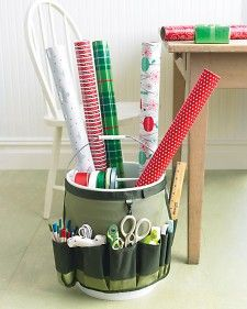 Make a portable gift-wrapping station using a pail and a garden bucket caddy.