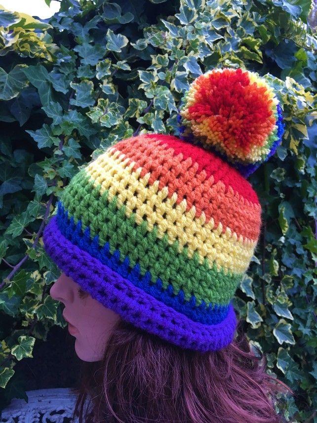 3072ad54 Chunky Crochet Rainbow LGBT Hat with Large Bobble   Rainbow   Bobble ...