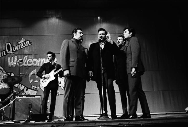 Johnny Cash & The Statler Brothers in San Quentin State Prison, California in 1969. Photo by Jim Marshall.