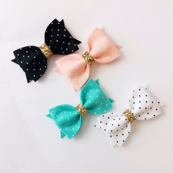 PICK 1:  Felt Bow clip or headband- polka dot felt bow- glitter bow on Etsy, $7.95