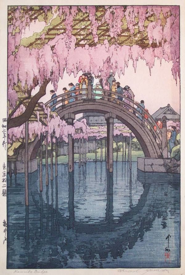 Hiroshi Yoshida. I love that color of pastel pink with that color blue.