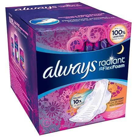 Always Radiant Infinity Pads With Wings Overnight - 11 ea