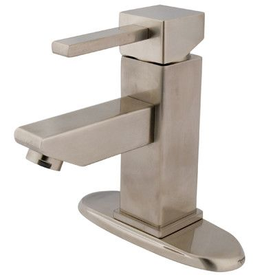 Kingston Brass Claremont Single Handle Bathroom Faucet with Optional Deck Plate Finish: Satin Nickel