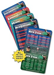"""NFL Season Calendar Magnets -   Is your town, city or state just crazy about an NFL team? Then promote your business with a magnet they will be sure and keep all season long.     We have magnets available that contain the full season schedule for any of the NFL teams. Each magnet can be customized with your business and contact information.     These magnets are a proud 4"""" x 7"""".     An instant hit any trade shows, sales meetings or to use for sales calls and prospecting."""