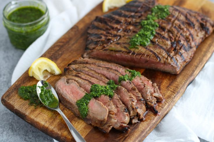 Feel the summer grilling vibes all year long with this Balsamic Flank Steak with Chimichurri Sauce! Whole30 + Paleo + Dairy-free + Nut-free | Serves 4