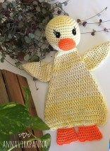 #haken, gratis patroon (Engels), lappenpop, eend, knuffel, kraamcadeau, #haakpatroon, meer gratis patronen op site, #crochet, free pattern, ragdoll, duck, stuffed toy, more free patterns on site