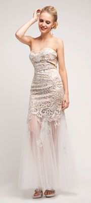2014 Prom Dresses - Nude & Off White Filigree Trumpet Gown