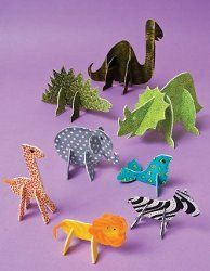 These animals are great for any child's room or desktop at school. They are specifically designed with a slot in them for standing purposes. Create a zoo environment for the kids to play with.