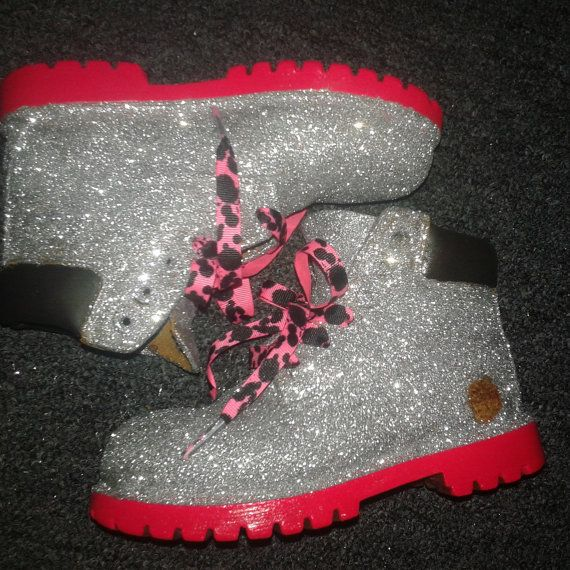 Glittered timberland boots Infants-Preschool ANY by KudozKustoms