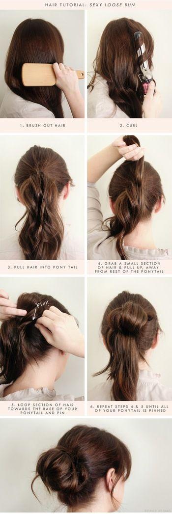 ①お団子を作る前にカールを付けておくと、まとめやすく、やわらかな雰囲気になります。  ②トップより低めの位置でポニーテールにします。  ③半分くらいの毛束毛を取り、ふんわりまるく形作ってピンでとめます。  ④残りの毛束毛を根元にくるりと巻き付けて、ピンでとめたら出来上がり。  少し低めの位置で作ると付いた印象に。 カールさせてあるので、ふんわりやわらかに仕上がります。