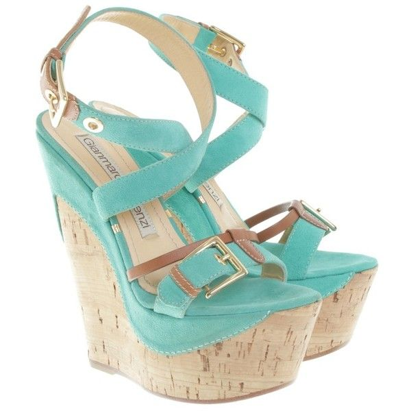 Pre-owned Wedges in turquoise ($210) ❤ liked on Polyvore featuring shoes, turquoise, gianmarco lorenzi shoes, turquoise blue shoes, golden shoes, ankle strap wedge shoes and pre owned shoes