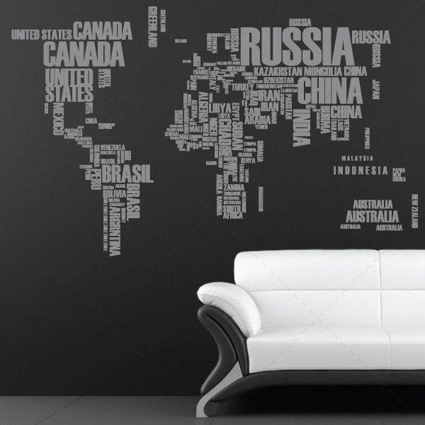 Mapa mundo com nomes dos pa ses decora o em vinil for Papel de pared decorativo