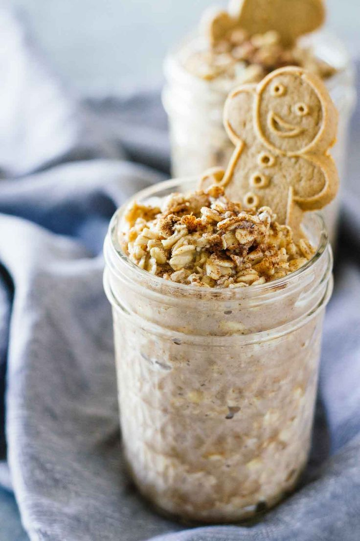 Gingerbread Cookie Overnight Oats! Vegan, vegetarian, gluten-free, and refined sugar free!