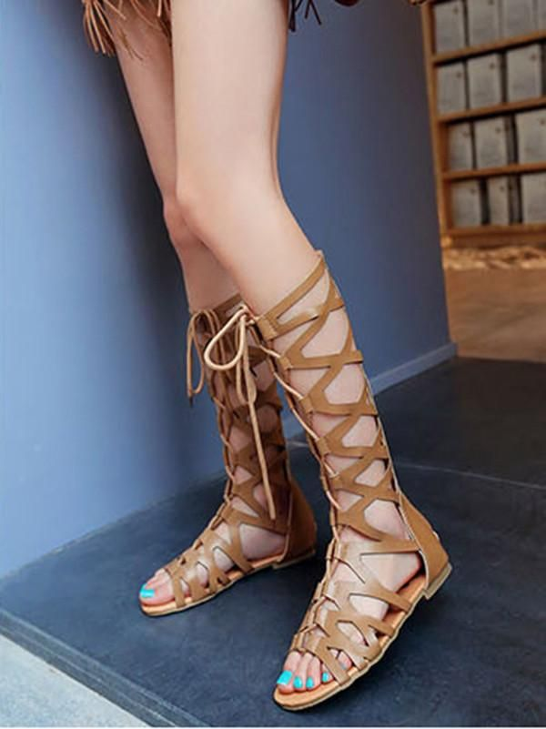 35a5d54346f Retro Hight Barrel Hollow Lace-Up Slight Heel Suede Sandals – oshoplive