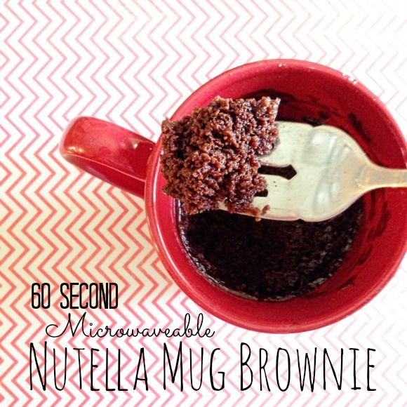 This 60 Second Microwaveable Nutella Brownie in a Mug is super simple to make.  You probably have everything you need in your cabinets!