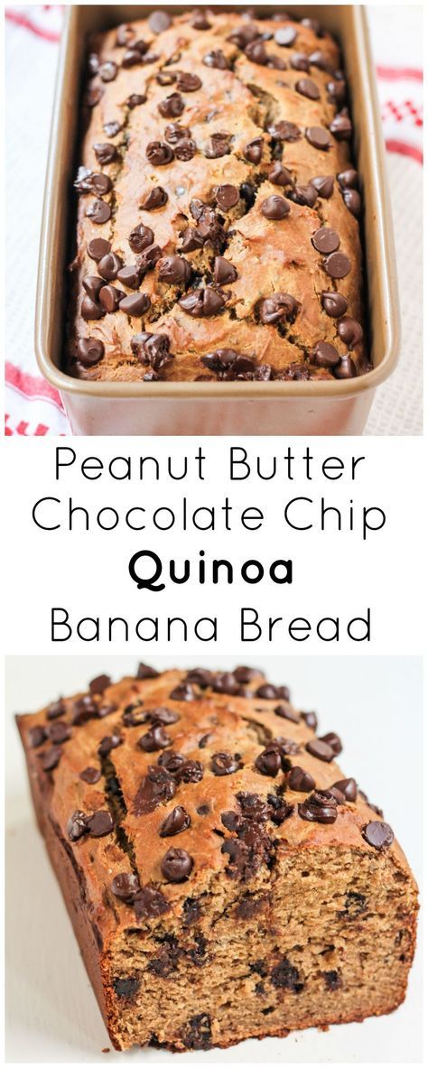 Peanut Butter Chocolate Chip Quinoa Banana Bread is packed with peanut ...