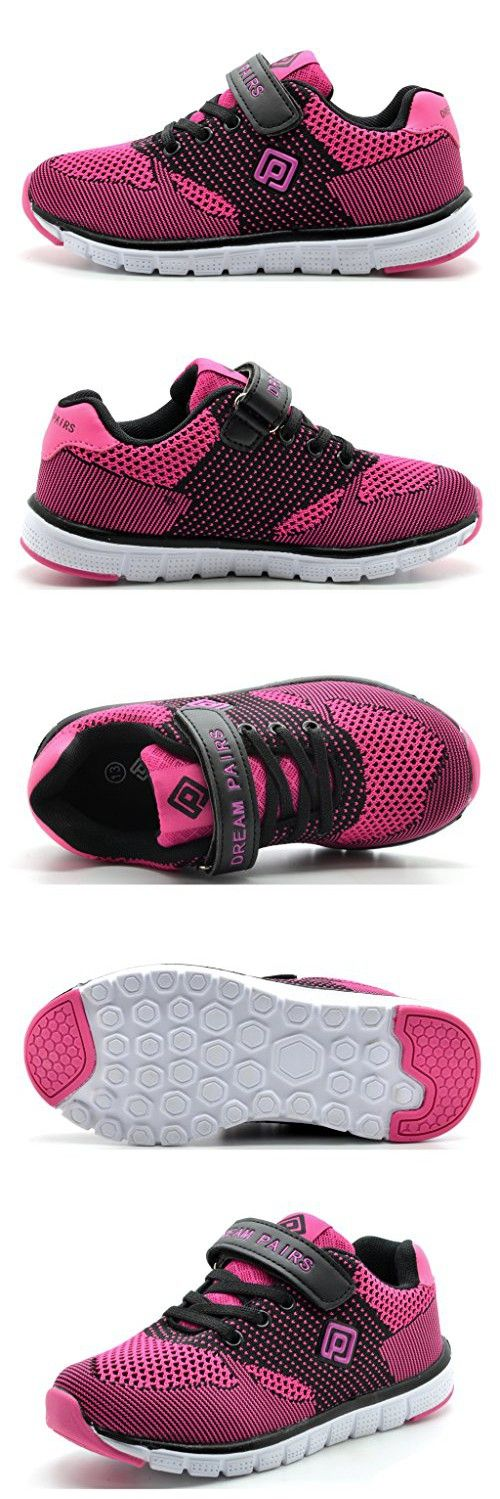 Dream Pairs 151054 New Kids Boys & Girls Sports Casual Trainers Flat Velcro Strap Light Weight Lace Up Shoes Sneakers (Toddler/Little Kid/Big Kid) FUCHSIA-BLACK SZ 9