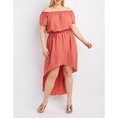 Plus Size Red Off-The-Shoulder Tie-Waist Dress - Size 3X