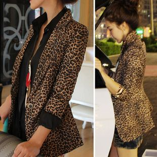 2013 spring and autumn women's street leopard print fashion female slim suit blazer outerwear US $68.40 Specifics Gender	Women Item Type	Blazers Clothing Length	Regular Pattern Type	Animal Brand Name	Blazers Closure Type	Single Button Hooded	No Fabric Type	Broadcloth Material	Cotton,Polyester Collar	Notched Sleeve Length	Full Model Number	Women's suit blazer collar type of ' women s clothing	suit collar  Click to Buy :http://goo.gl/t9O329