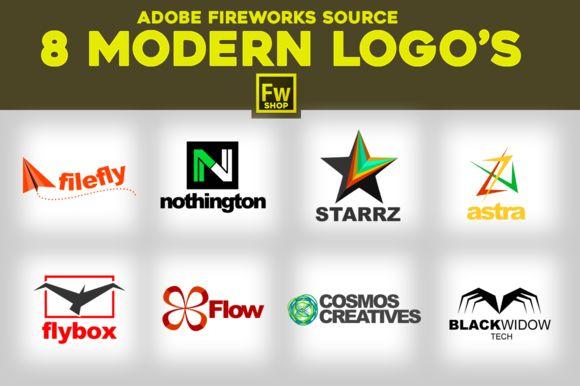 8 Modern Logo's. Adobe Fireworks PNG by Adobe Fireworks Shop on Creative Market #logo #logoidea #inspiration