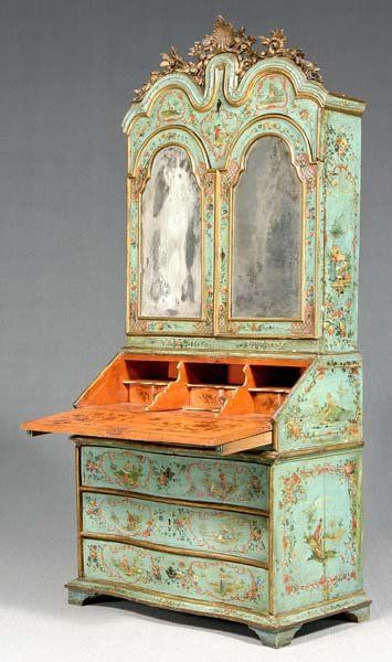 An Important Early 18th Century Venetian Arte Porvera Bureau/Secretary/Bookcase,   Profusely Decorated with Elaborate Decoupages Vignettes on Every Surface on a Cream Ground.The Decoupage Retains Good Colour and Engraved Detail. The Antique Mirror Plates Engraved with Dancing Figures, Fantastic.