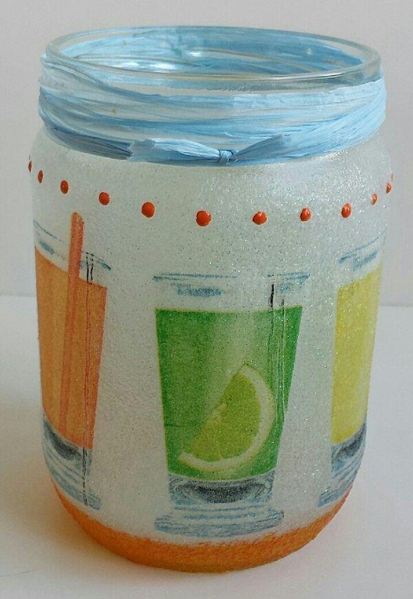 Teelicht mit Cocktails, Mason Jar, Recycle