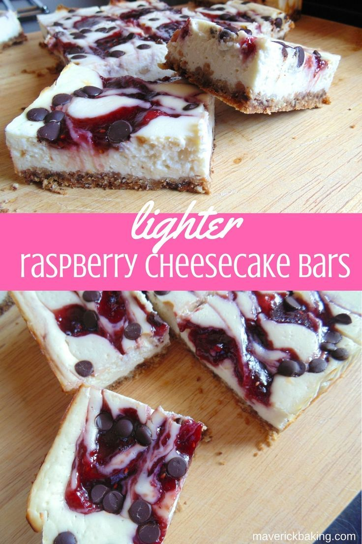 Lighter Raspberry Cheesecake Bars; snack-sized creamy raspberry and dark chocolate cheesecake bars that are a little lower in fat that regular cheesecakes!
