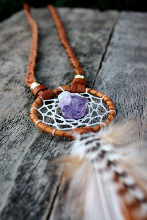 Amethyst Dream Catcher Feather Necklace, Bohemian, Tribal, Spiritual, Healing Stone, Native American Inspired on Etsy, $42.00