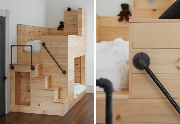 kids bunk bed design. But with stairs on side next to closet