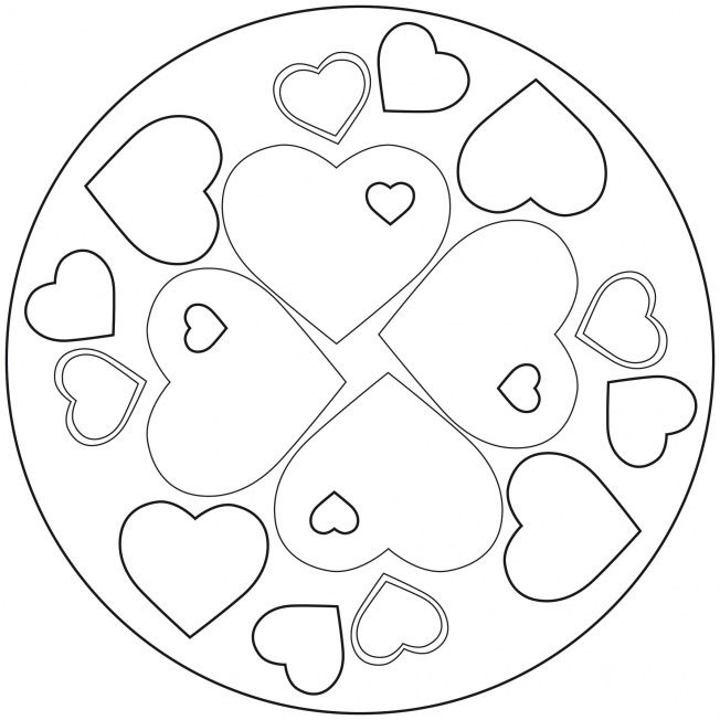 show your love for mom or dad with this hearts mandala more free mandala coloring