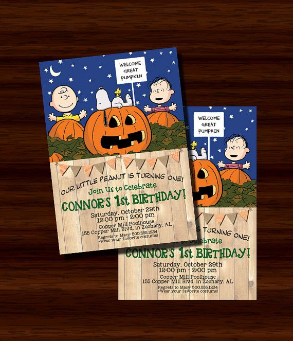Great Pumpkin Invitation, Charlie Brown Great Pumpkin Invitation, First Birthday Invitation, 1st Birthday, Peanuts Invitation, Digital Printable. Adorable Great Pumpkin themed invitation featuring Peanuts characters Charlie Brown, Linus and Snoopy. Can be made for a First Birthday, or changed for a different age. Features orange chevron and burlap flag bunting.