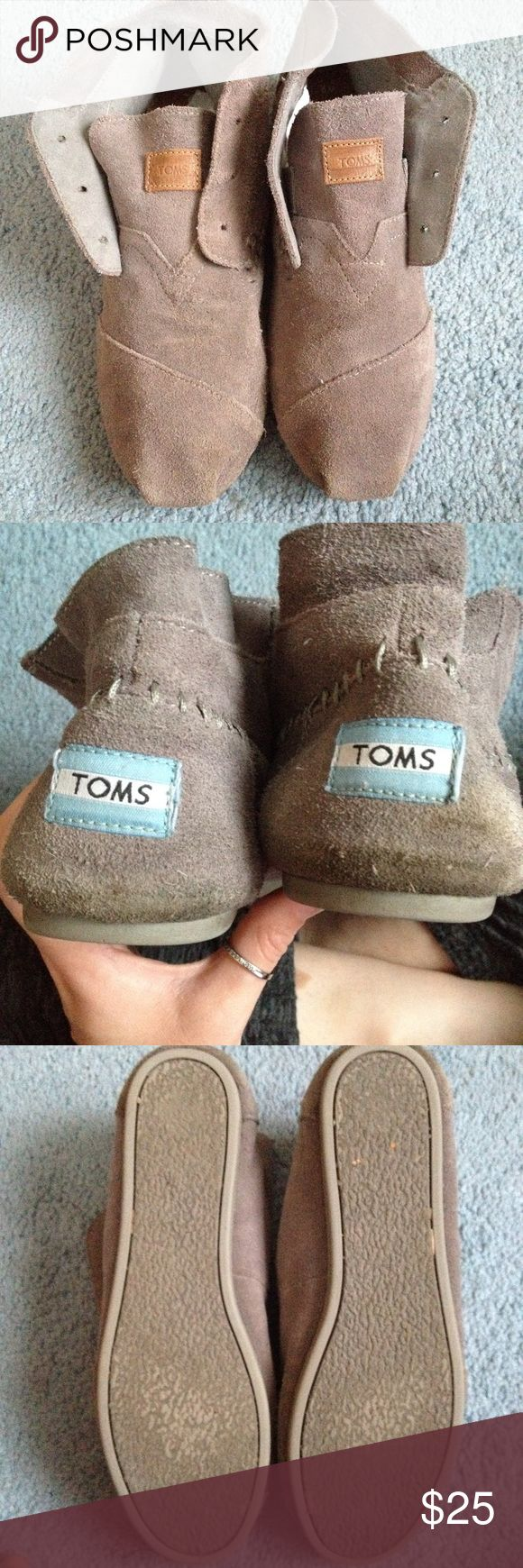 Women's TOMS Moccasins Grey TOMS Moccasins, some wear on the heels, shown in picture. Suede texture. (Not sold with laces) Toms Shoes Moccasins