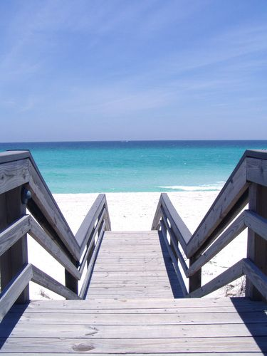 Destin, FL, USA - i didn't take this picture, but i have walked down these very steps so many times - to my alltime very favorite beach. next to Paris, FR, this beach is my favorite place in the world. Early in the morning, before the masses arrive or late in the evening.... i love it.