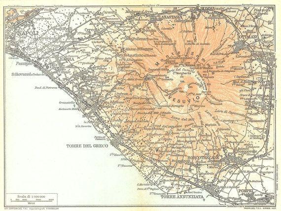 1927 Vintage Map Mount Vesuvius Gulf of Naples by CarambasVintage