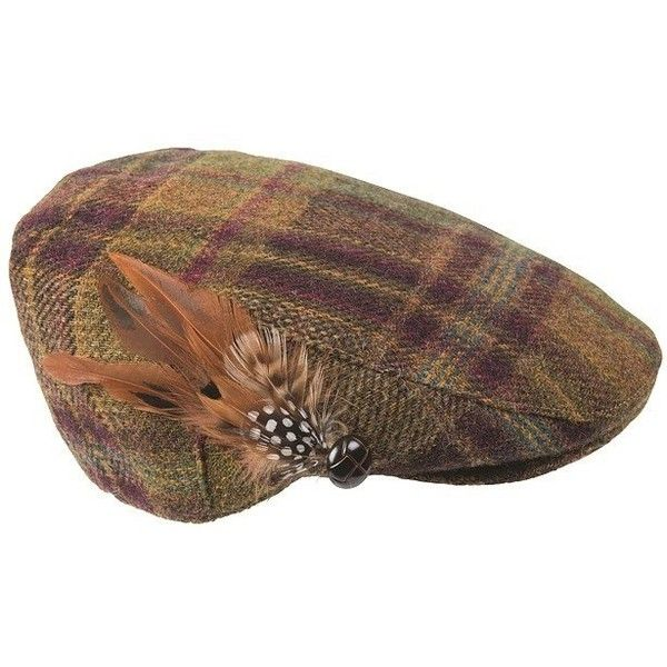 Women's Barbour Tweed Flat Cap - Wine / Olive Check (€55) ❤ liked on Polyvore featuring accessories, hats, flat cap hat, barbour, olive green hat, flat hats and tweed hat
