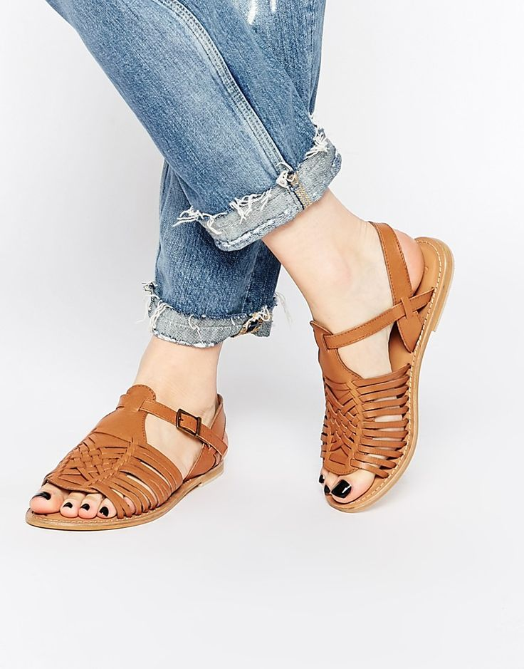 Image 1 of ASOS FOREST Leather Flat Sandals