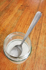 Mix your salt scrub using a spoon. @Andrea Martin