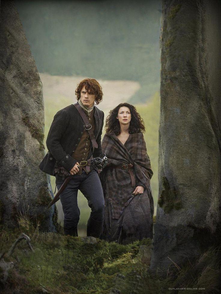 Jamie (Sam Heughan) & Claire (Caitriona Balfe) Fraser enter Craigh na Dun | Outlander S1bE11 'The Devil's Mark' on Starz | Costume Designer TERRY DRESBACH www.terrydresbach.com