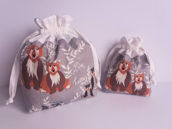 Woodland Animals.Drawstring Bags.Project Bags.Nursery